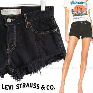 Levi's denim cut off jean shorts distressed